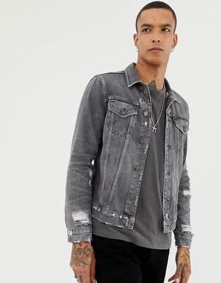 AllSaints Denim Jacket In Washed Black With Distress