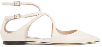 Jimmy Choo Lancer Patent-leather Point-toe Flats - White