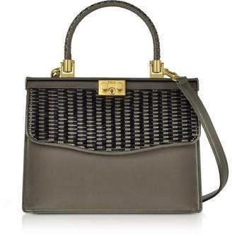 Rodo Taupe Woven Leather Top Handle Satchel Bag