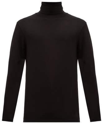 Jil Sander Roll Neck Cotton Blend Jersey T Shirt - Mens - Black