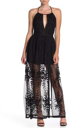 Honey Punch Halter Embroidered Lace Maxi Dress