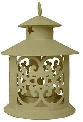Just Artifacts Decorative Glassless Candle Lantern 5-inch Height Round Design w/ Ring Hook (3pcs, Cream)