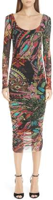 Fuzzi Print Tulle Scoop Neck Dress