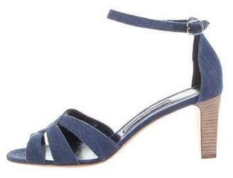 Manolo Blahnik Denim Crossover Sandals