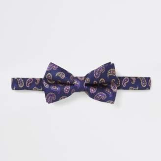 River Island Purple paisley bow tie