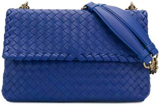 Bottega Veneta cobalt blue Intrecciato nappa small olimpia bag