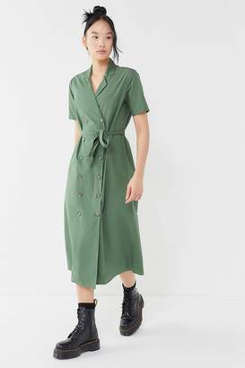 Urban Outfitters Holly Double-Breasted Midi Shirt Dress