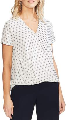 Vince Camuto Short Sleeve Geometric Print Wrap Top