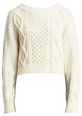 3.1 Phillip Lim Women's Long-Sleeve Cropped Boxy Cable Knit Sweater