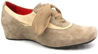 """Pas De Rouge B301"""" Suede Taupe Oxford Wedge"""