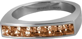 Jacques Lemans S-R46P58 Ring Solid Stainless Steel with Sparkling Swarovski Crystals Size 58/Q1/2