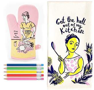 """Blue Q """"I've Got a Knife"""" Oven Mitt and """"Get the Hell out of my Kitchen"""" Dish towel"""