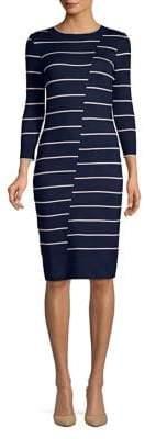 Gabby Skye Asymmetrical Striped Sweater Dress