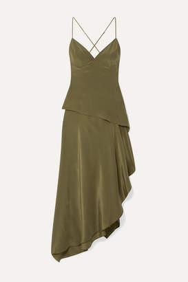Amiri Asymmetric Silk Crepe De Chine Dress - Army green