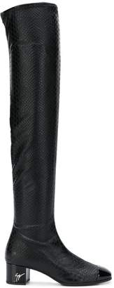 Giuseppe Zanotti Design snakeskin effect over the knee boots