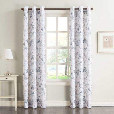 No.918 Marra Floral 63-Inch Grommet Top Window Curtain Panel in Harbor