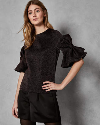 Ted Baker SIANEO Sparkle lurex bow sleeve top
