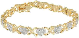 Xo 18k Gold Plated Sterling Silver Two Tone Diamond Accent and Illusion Heart Bracelet