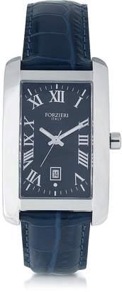 Forzieri Gabriel Rectangular Case Men's Watch w/ Croco Embossed Strap