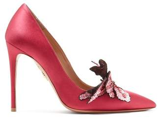 Aquazzura Poison 105 Satin Pumps - Womens - Pink Multi