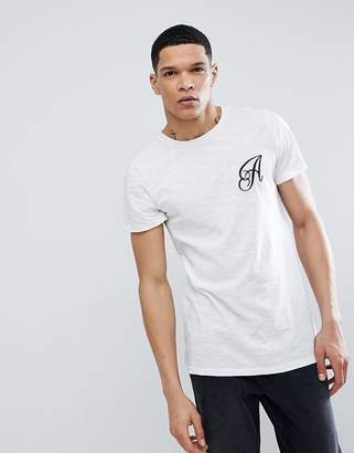 Another Influence Long Line Curved Hem Stretch Logo T-Shirt