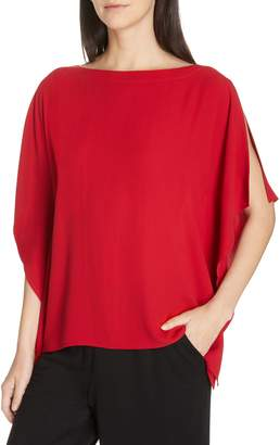 Eileen Fisher Slit Sleeve Silk Top