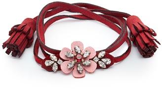 SHOUROUK Crystal-embellished flower alcantara bracelet $91 thestylecure.com