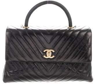 Chanel Lizard-Trimmed Medium Coco Handle Bag Black Lizard-Trimmed Medium Coco Handle Bag