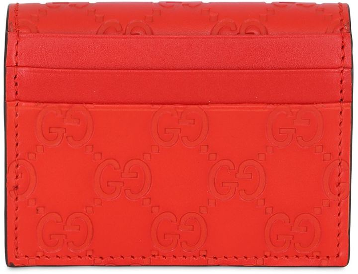GucciGg Embossed Leather Card Holder