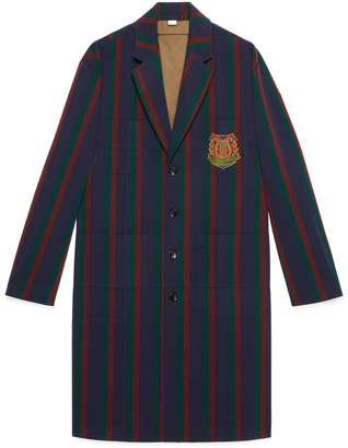 Gucci Striped wool coat with crest