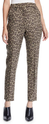 Max Mara High-Rise Leopard-Print Straight-Leg Wool Pants