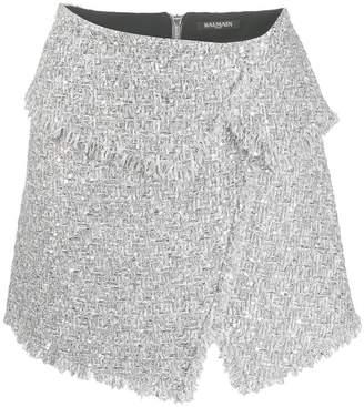 3b6529fe00 Balmain Silver Mini Skirts - ShopStyle