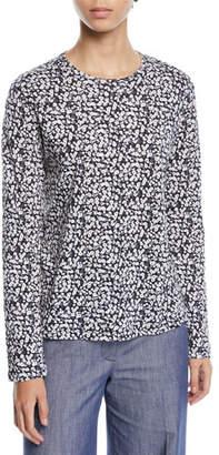 Derek Lam Crewneck Long-Sleeve Poppy-Print Cotton Tee