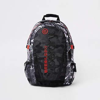 River Island Superdry black mesh backpack