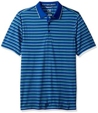 Cutter & Buck Men's Moisture Wicking Quest Stripe Tipped Collar Pique Polo Shirt