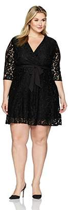 Ellen Tracy Women's Lace Faux Wrap Dress-Plus Size
