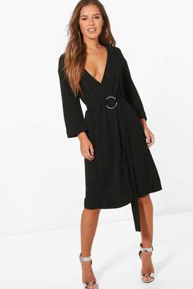 boohoo Petite Nuala D Ring Belted Wrap Dress