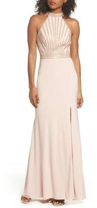 Xscape Evenings Embellished Halter Neck Gown