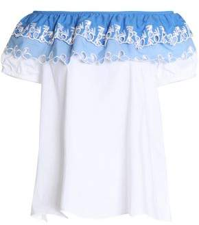 Peter Pilotto Woman Embroidered Cotton-blend Poplin Top White Size 8 Peter Pilotto Outlet In China 100% Original shoTHWIr
