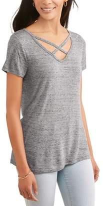 Tbd Women's Short Sleeve Cage Front Burnout Hi-Lo T-Shirt