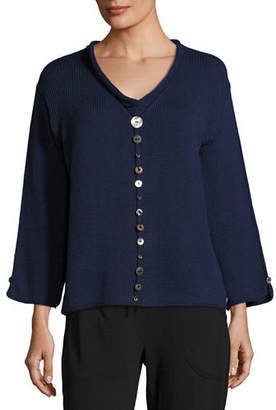 Pure Handknit Iris Pullover Top with Buttons $125 thestylecure.com