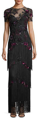 Marchesa Short-Sleeve Illusion Fringe Column Gown