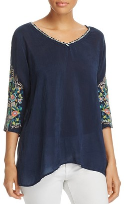 Johnny Was Nina Embroidered Sleeve Blouse $201 thestylecure.com