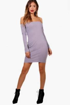 boohoo Rib Knit Bardot Dress