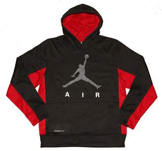 Nike Jordan Boys Therma-Fit Pullover Hoodie Sweatshirt Black Red