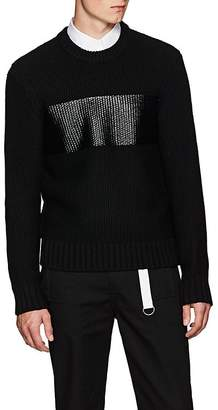 Helmut Lang Men's Coated-Stripe Chunky Wool Sweater