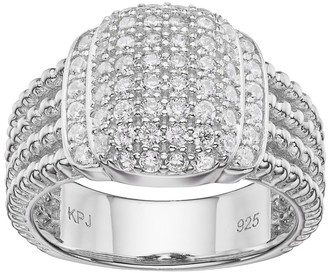 Sterling Silver Cubic Zirconia Cluster Engagement Ring