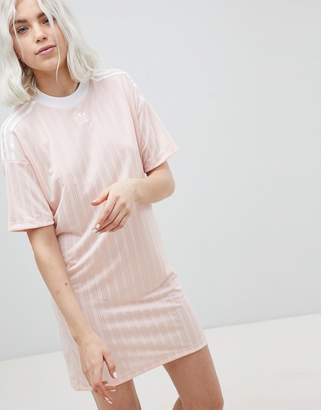 adidas Three Stripe Dress In Pink
