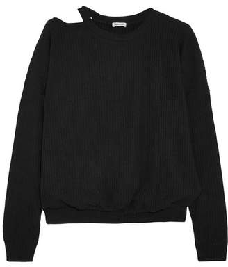 Cheap Sale 2018 Newest Line Woman Niamh Cold-shoulder Crepe De Chine-paneled Knitted Top Black Size XS Line Cheap Price For Sale 7XzkX