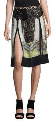 Roberto Cavalli Printed Split Knee-Length Skirt